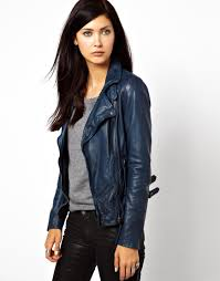 women s blue muubaa reval lambs leather jacket with buckle detail on neck and hem
