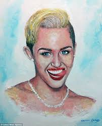 miley cyrus shows off her pearly whites in this portrait by the mexico born artist