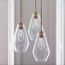sculptural glass geo 3 light chandelier medium