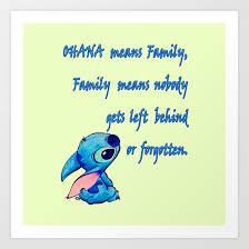 Ohana Means Family Quote Interesting Lilo Stitch Ohana Quote Art Print By Marcomellark Society48