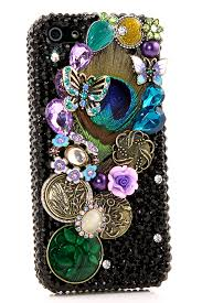 Mobile Cover Designs Handmade Peacock Feather Design Style 436 Bling Phone Cases