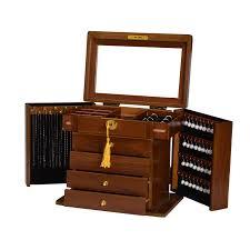 luxury wooden jewellery box walnut storage case w lock large size factory second