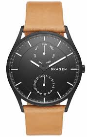 men s skagen holst multifunction brown leather watch skw6265