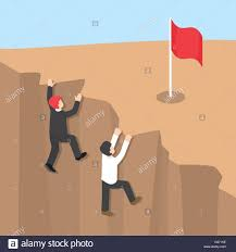 businessman climb up the cliff to reaching his success challenges businessman climb up the cliff to reaching his success challenges in achieving career goals business competition concept flat