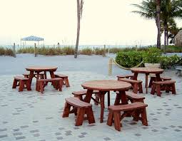 round picnic tables custom kits detatched benches made in u s a