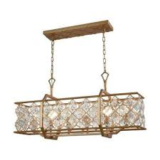 armand 6 light long matte gold with clear crystal chandelier