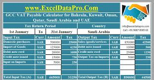 Vat Calculation Formula In Excel Download Download Gcc Vat Payable Calculator For All 6 Gcc Countries