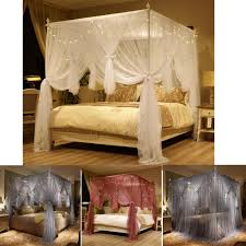 4 Corner Post Bed Curtain Canopy Mosquito Net With Led Light Or Bed ...