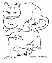Small Picture Pet Cat Coloring page Mother Cat and kittens from HonkingDonkey