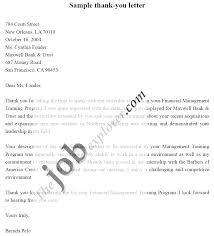 Thank You Letter After Interview Bank Manager