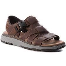 sandals clarks un trek cove 261326207 dark tan leather sandals mules and sandals men s shoes efootwear eu