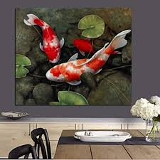 To spread the basics of the feng shui artistry in home decor, we created a short series of three articles on our sukhi blog. Amazon Com Twtqyc Chinese Koi Fish Lotus Canvas Prints Feng Shui Animal Landscape Painting Wall Art Picture For Living Room Moder Home Decoration 60x70cm No Frame Posters Prints