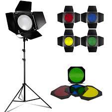 lighting set. Loadstone Studio LED Barn Door Lighting Set, Light Stand Tripod And 4 Color Gel Filters Set L