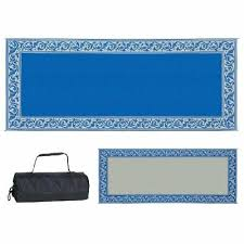 outdoor patio deck rv mat reversible rug 8 x 20 ft foldable blue beige border