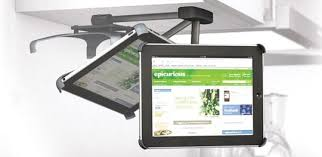 This is where an under cabinet iPad mount makes sense, keeping your  countertop space free for you to play chef while supporting your device  from above.