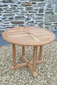 1m round fixed teak garden table
