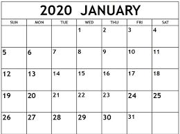 Calendar 2020 Template Free Free January Calendar 2020 Printable Template Blank In Pdf
