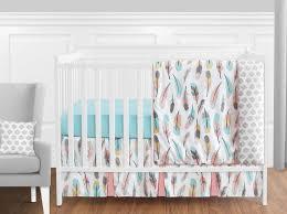 perless c aqua grey white gold boho feather girl baby crib bedding set 1 of 3free
