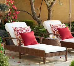 palmetto all weather wicker single chaise with cushion set honey pottery barn