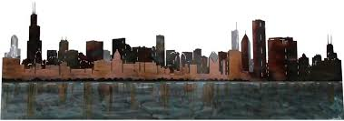 metal decor wall art chicago skyline