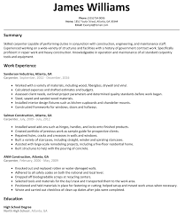 Resume Samples For Construction Jobs Luxury Carpenter Examples