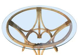 Bentwood Dining Table Restored Rattan Bentwood Dining Table With Round Glass Top For