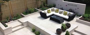 terrace with furniture modern garden by gardenplan design