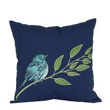 garden treasures 16 in x 16 in blue bird outdoor decorative pillow