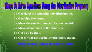 steps to solve equations using the distributive property