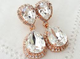 rose gold and white clear crystal chandelier earrings bridal