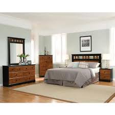 cambridge westminster 5 piece cherry black queen bedroom set with headboard dresser