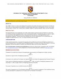 Firefighter Resume Templates California Department Of Forestry And