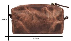 com make up bag top grain leather cosmetic toiletry travel bag walnut beauty