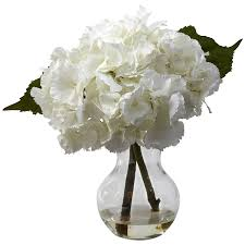 Amazon.com: Nearly Natural 1314 Blooming Hydrangea with Vase Arrangement,  White: Home & Kitchen
