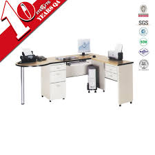 l shaped expandable computer desk with mobile 3 drawer cabinet wooden top small office pc