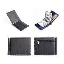 men leather bifold wallet credit id card holder slim coin purse bk