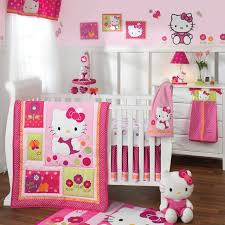 decorating ideas for baby room. Modern Hello Kitty Girl Nursery Decor That Has Wooden Floor And Also White Bed Frame Can Decorating Ideas For Baby Room