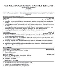 Retail Store Manager Resumes Examples Resume Sample Retail Store