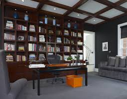 office wall unit. Trendy Freestanding Desk Carpeted Home Office Photo In Detroit With Black Walls Wall Unit