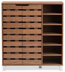 shoes storage furniture. shirley walnut medium brown wood 2door shoe cabinet with open shelves contemporaryshoe shoes storage furniture a