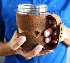 leather mason jar slleve