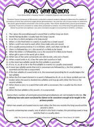 Phonics Generalizations List Phonics Rules Phonics