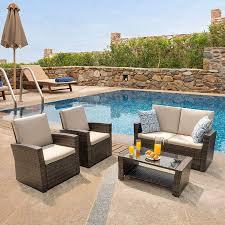 harrier rattan garden sofa table set