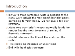 learning target students will revise and edit their analytical introduction iuml130uml in two to three sentences write a synopsis of the story