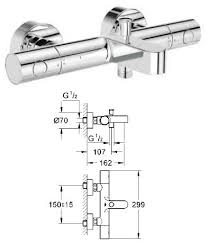 grohe 1000 thermostatic bath shower mixer. grohe - grohtherm 1000 cosmopolitan thermostatic bath/shower mixer 1/2\ bath shower 0