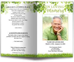 Design Your Own Funeral Program Nature Funeral Program Template