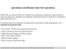 Operations Coordinator Cover Letter Operations Coordinator Interview Questions