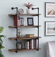 home office shelf. Homissue 4-Shelf Rustic Pipe Shelving Unit, Metal Decorative Accent Wall  Book Shelf Home Home Office Shelf