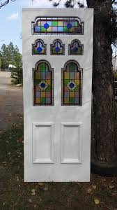 edwardian 6 panels front door with traditional stained glass