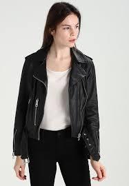 balfern biker leather jacket black